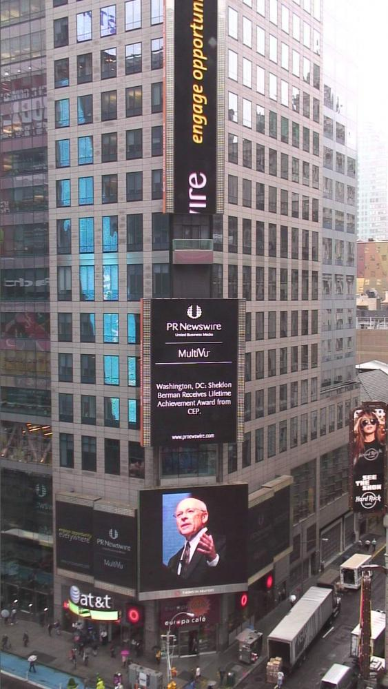 Dr. Berman's award announced in Times Square