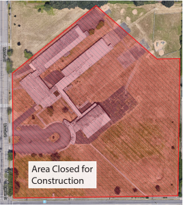 A map that shows the off-limits to the public area of the Willard property while construction is ongoing.